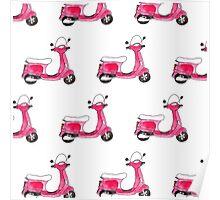 Pink Vespa scooter print Poster