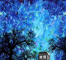 Lonely time travel phone box art painting by Arief Rahman Hakeem