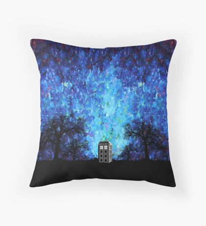 Lonely time travel phone box art painting Throw Pillow