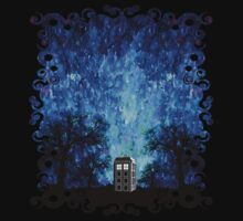 Lonely time travel phone box art painting One Piece - Short Sleeve
