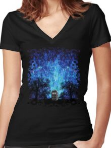 Lonely time travel phone box art painting Women's Fitted V-Neck T-Shirt
