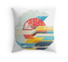 Digital Sun Horizon  Throw Pillow