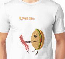 Love is... hamburger and bacon Unisex T-Shirt