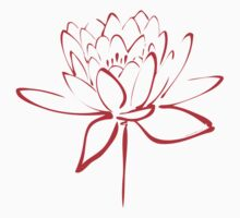 Lotus Flower Calligraphy (Red) One Piece - Long Sleeve