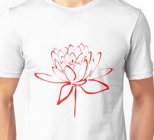 Lotus Flower Calligraphy (Red) Unisex T-Shirt