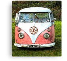 Pink Vw Camper Van Canvas Print