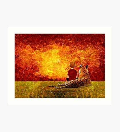 Cute Little Boy with the lazy tiger Art Print
