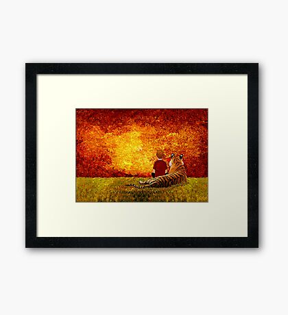 Cute Little Boy with the lazy tiger Framed Print