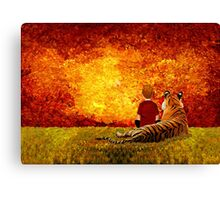 Cute Little Boy with the lazy tiger Canvas Print