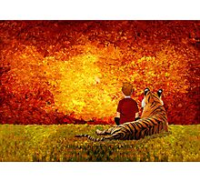 Cute Little Boy with the lazy tiger Photographic Print