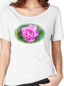Pink Rose White Vignette Women's Relaxed Fit T-Shirt