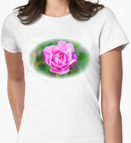 Pink Rose White Vignette Womens Fitted T-Shirt