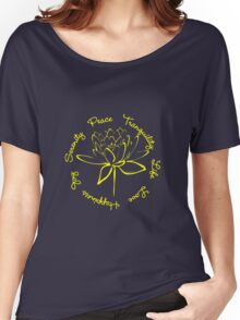 Serenity Tranquility Lotus (Yellow) Women's Relaxed Fit T-Shirt