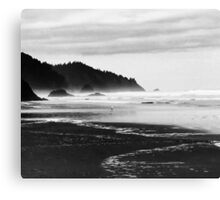 Black and White Seascape At Hug Point Canvas Print