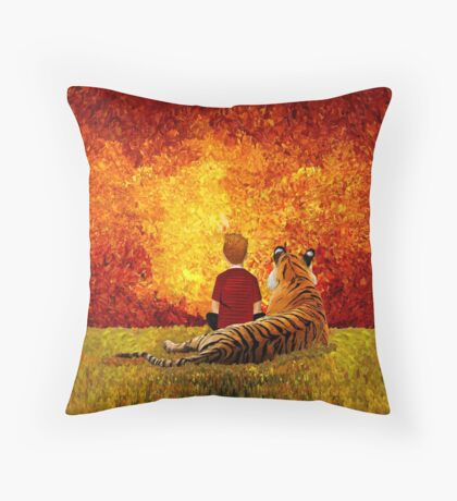 Cute Little Boy with the lazy tiger Throw Pillow