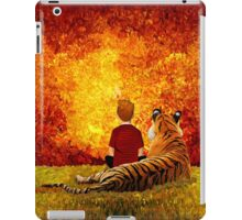 Cute Little Boy with the lazy tiger iPad Case/Skin