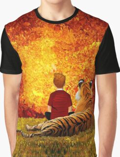 Cute Little Boy with the lazy tiger Graphic T-Shirt