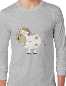Cute Moo Cow Cartoon Animal Long Sleeve T-Shirt