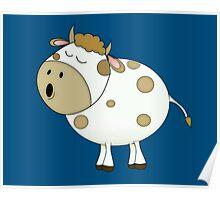 Cute Moo Cow Cartoon Animal Poster