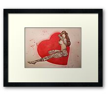 tattoo girl looking for love Framed Print