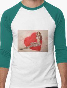 tattoo girl looking for love Men's Baseball ¾ T-Shirt