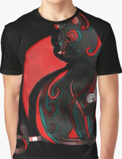 Artistic Abstract Black Cat with 3D effect Graphic T-Shirt