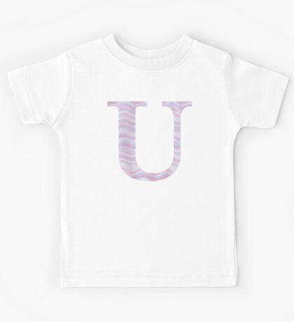 Initial U Rose Quartz And Serenity Pink Blue Wavy Lines Kids Tee