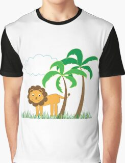 Cute Lion with Palm Trees, Grass and White Cloud Graphic T-Shirt