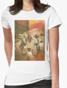 Retro Penguins Womens Fitted T-Shirt