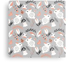 Rabbits and flowers 007 Metal Print