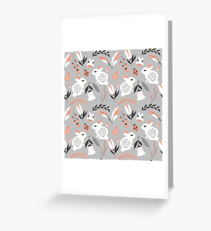 Rabbits and flowers 007 Greeting Card