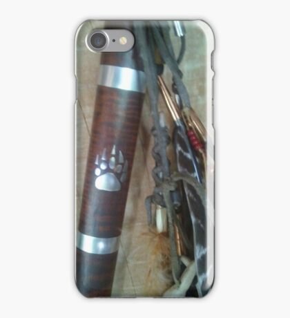 Tomahawk with wolf paw and feather dangle, mens iPhone Case/Skin