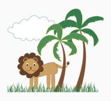 Cute Lion with Palm Trees, Grass and White Cloud Kids Tee