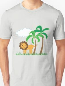 Cute Lion with Palm Trees, Grass and White Cloud Unisex T-Shirt
