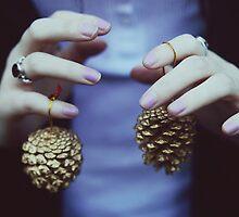 Gold pine cones by Indea Vanmerllin