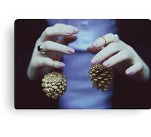 Gold pine cones Canvas Print