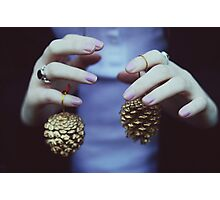 Gold pine cones Photographic Print