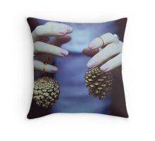 Gold pine cones Throw Pillow