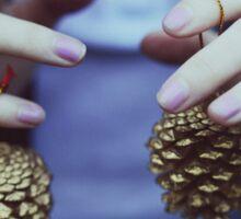 Gold pine cones Sticker