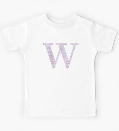 Initial W Rose Quartz And Serenity Pink Blue Wavy Lines Kids Tee