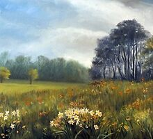 Landscape with daffodils by AiyanaABC