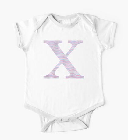 Initial X Rose Quartz And Serenity Pink Blue Wavy Lines One Piece - Short Sleeve