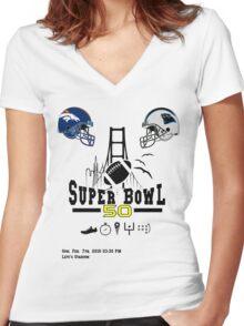 Super Bowl 50 design Women's Fitted V-Neck T-Shirt