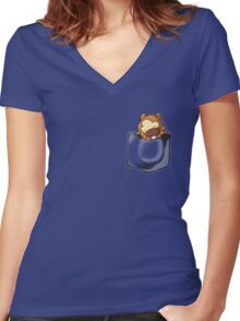 Bidoof Sleeping in Pocket Women's Fitted V-Neck T-Shirt