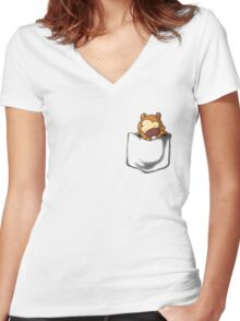 Bidoof Sleeping in Pocket Women's Fitted V-Neck T-Shirt