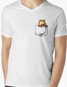 Bidoof Sleeping in Pocket Mens V-Neck T-Shirt