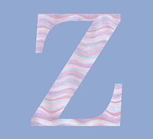 Initial Z Rose Quartz And Serenity Pink Blue Wavy Lines by theartofvikki