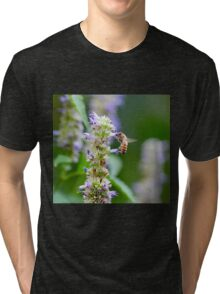 Bee on Blue Flowers 1 Tri-blend T-Shirt