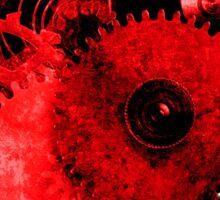 Steampunk Gears Red Heart Sticker