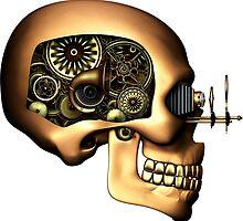 Steampunk Automaton Skull #1B T-shirt / Stickers by Steve Crompton